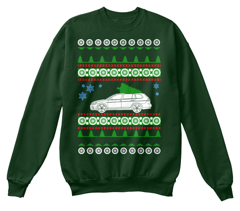 Golf Wagon  Ugly Christmas Sweater Deep Forest  Camiseta Front