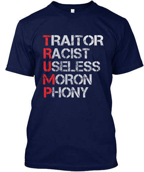 Anti Trump Navy T-Shirt Front