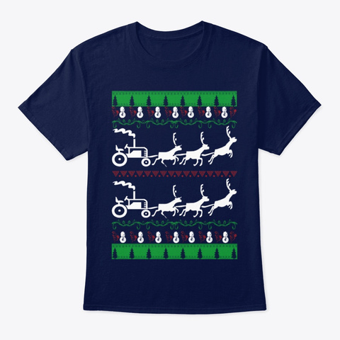 Merry Farmer Ugly Christmas Sweater Navy T-Shirt Front