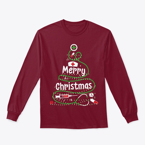 Stethoscope Merry Christmas Tree Nurse Cardinal Red T-Shirt Front