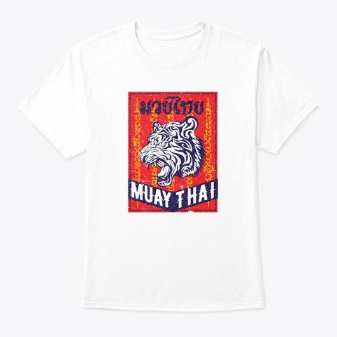 Tiger Muay Thai Kickboxing Mma Retro Tra White T-Shirt Front