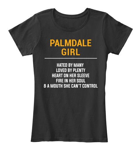 Palmdale Ca Girl   Heart On Sleeve. Customizable City Black T-Shirt Front