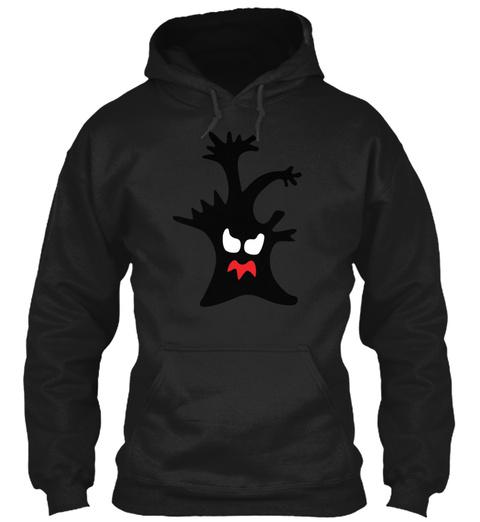 Halloween Ghost Tree Art Black T-Shirt Front
