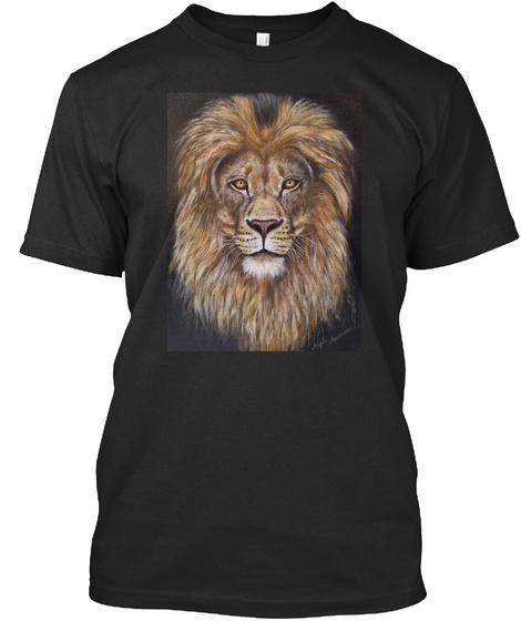 Lion Portrait Acrylic Painting  Black T-Shirt Front