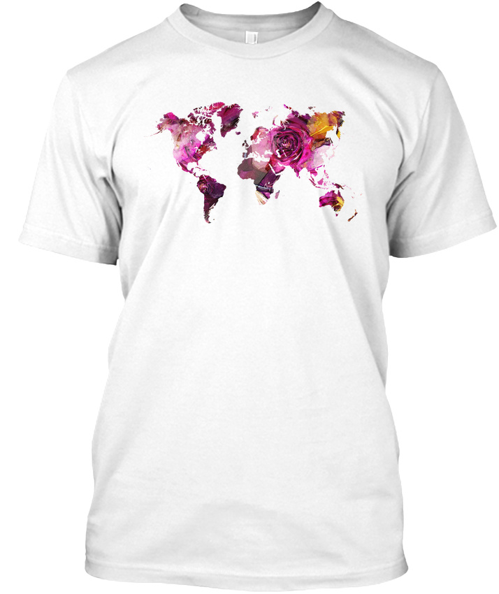 World map roses hanes tagless tee t shirt ebay world map roses hanes tagless tee t shirt gumiabroncs Image collections