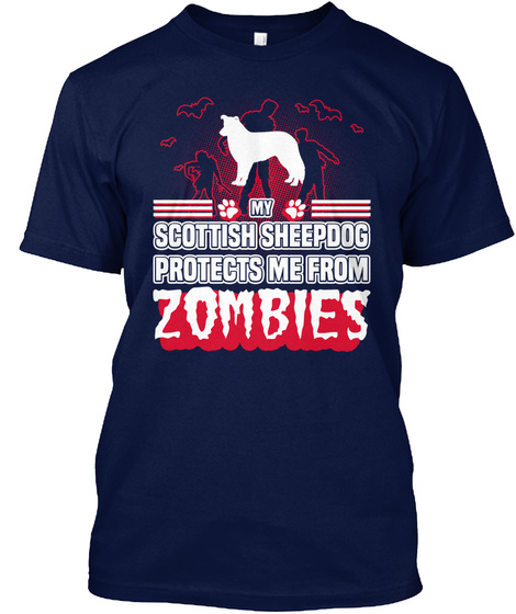 Scottish Sheepdog Navy T-Shirt Front