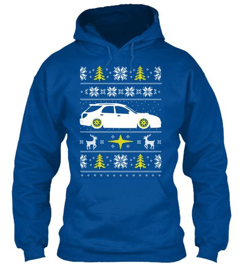 Subie Wagon Ugly Christmas Hoodie Royal T-Shirt Front