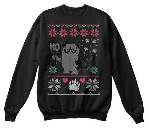 Grumpy Cat Sweatshirt Christmas Gifts Black T-Shirt Front