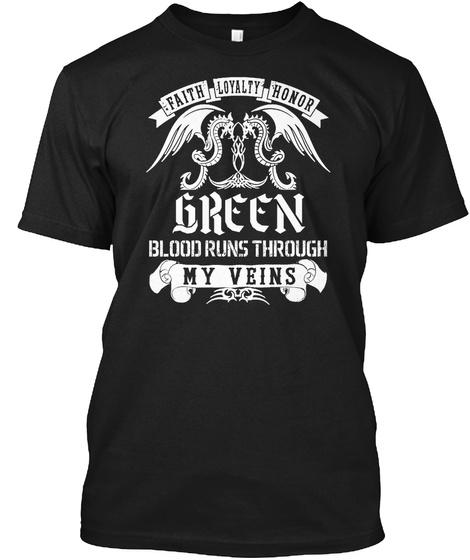 Green Blood Black T-Shirt Front