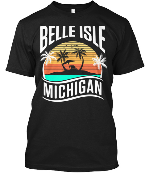 Belle Isle Retro Sunset Black T-Shirt Front
