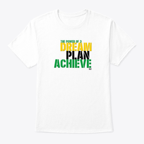 The Power Of 3 Jamaica White T-Shirt Front