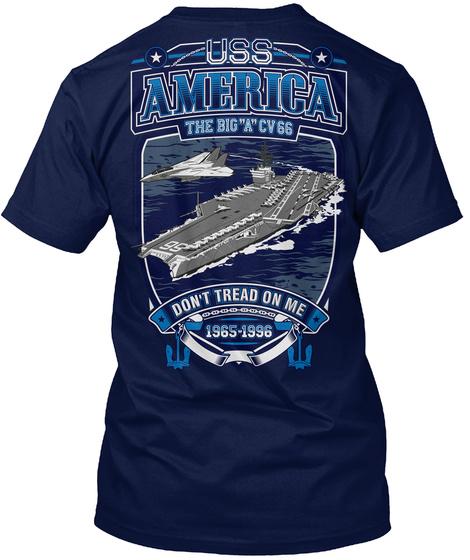 Uss America The Big A Cv66 Don't Tread On Me Navy T-Shirt Back