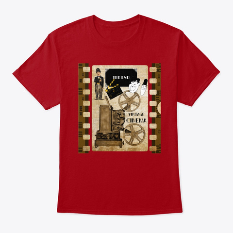 Retro Vintage Film Cinema Camera Deep Red T-Shirt Front