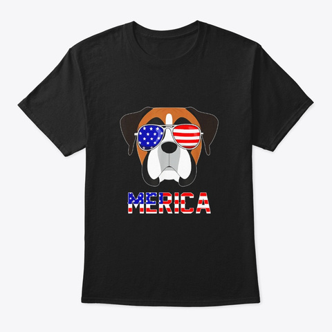 Merica Boxer 4th Of July Patriotic Dog Black T-Shirt Front