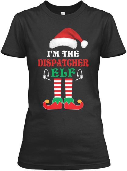 The Dispatcher Elf Black T-Shirt Front