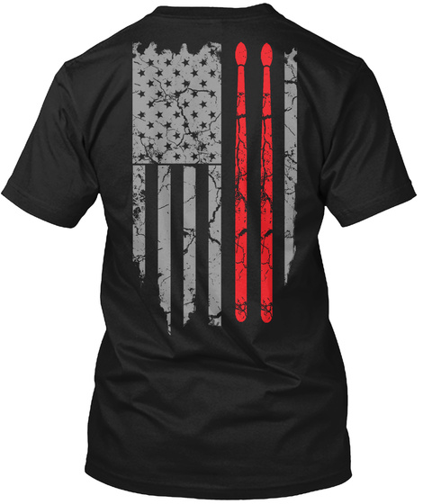 T Shirts For Drummer Black T-Shirt Back