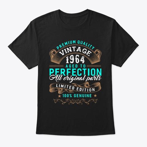 Vintage Born In 1964   Birthday Black T-Shirt Front