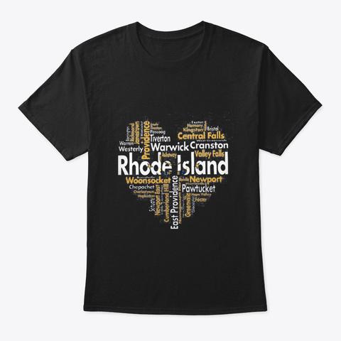 Rhode Island City Heart Black T-Shirt Front