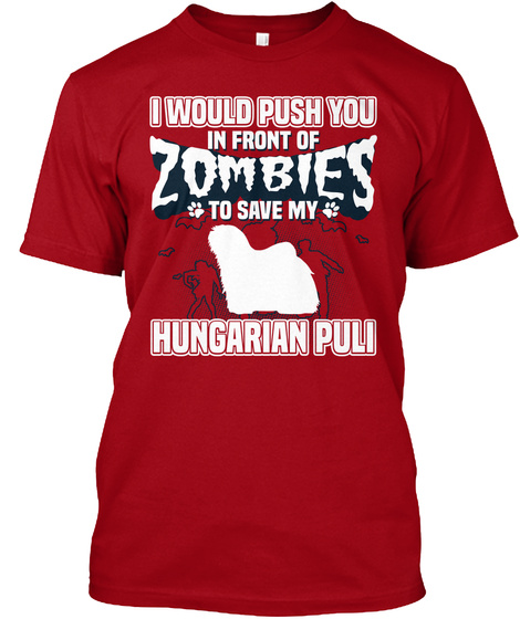 Hungarian Puli Deep Red T-Shirt Front