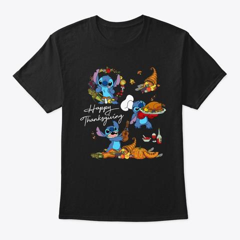 Stitch Funny Happy Thanksgiving Shirt Black T-Shirt Front