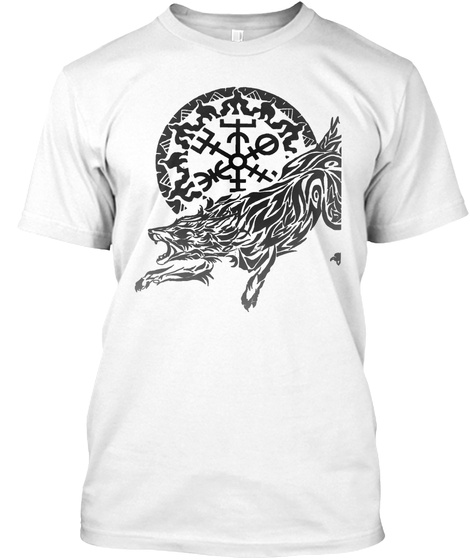 Viking Fenrir Wolf   Norse Mythology White T-Shirt Front
