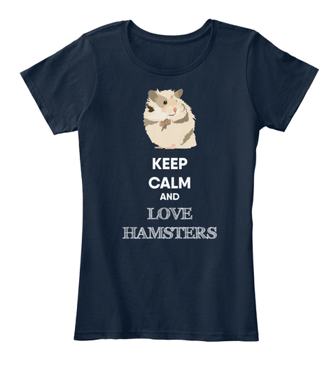 Keep Calm And Love Hamsters Navy T-Shirt Front