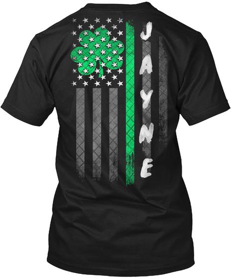 Jayne: Lucky Family Clover Flag Black T-Shirt Back
