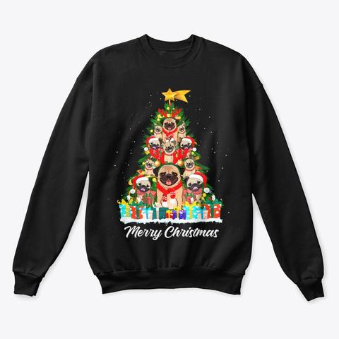 Pug Christmas Tree Shirt Black T-Shirt Front