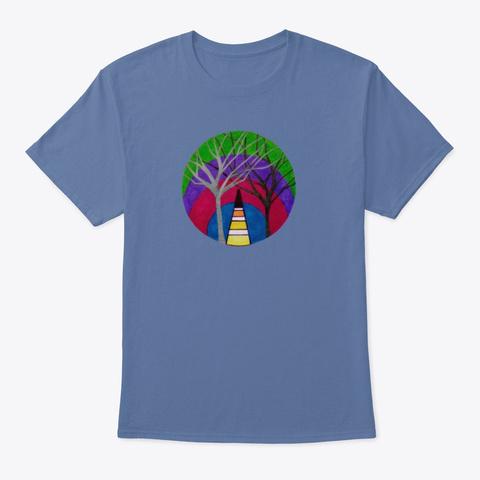 Geometric Art With Trees Denim Blue T-Shirt Front