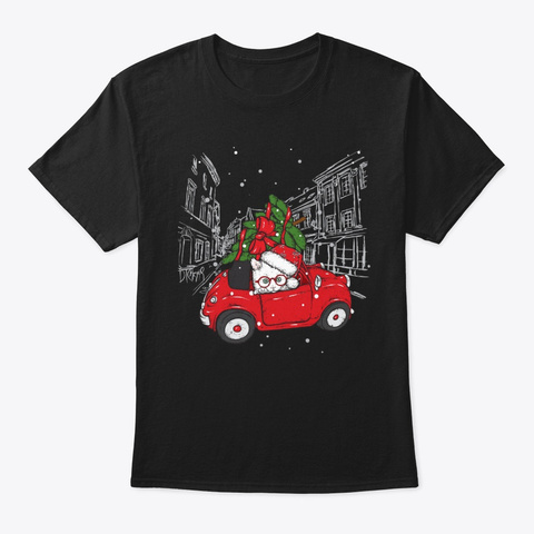 Cat In Red Car With Xmas Tree Tshirt Black T-Shirt Front