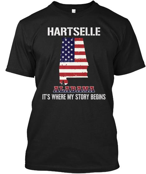 Hartselle Al   Story Begins Black T-Shirt Front