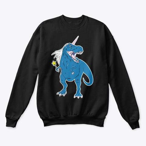 Unicorn T Rex Art Black T-Shirt Front