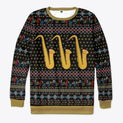 Ugly Saxophone Christmas Sweater 2020 Black T-Shirt Front