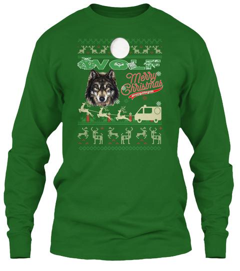 Wolf   Merry Christmas Irish Green T-Shirt Front