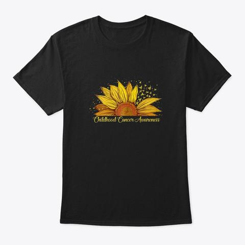 Sunflower Ribbon Shirt Childhood Cance  Black T-Shirt Front