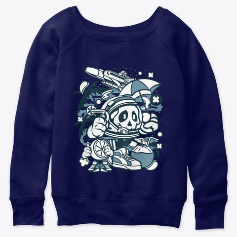 Astronaut Holiday For Animated Character Navy  T-Shirt Front