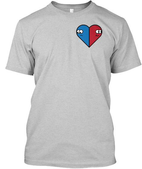 Happy/Sad Heart Light Steel T-Shirt Front