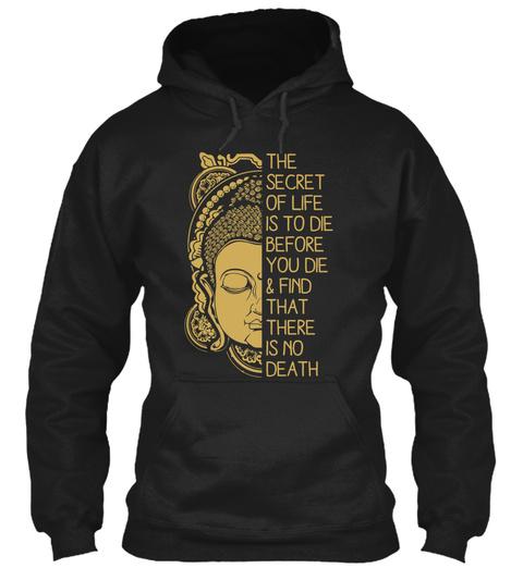Secret Life Zen Meditation Buddha Black T-Shirt Front