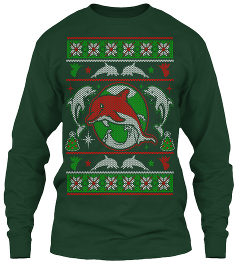 Dolphins   Christmas Forest Green T-Shirt Front