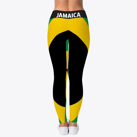 Jamaica Flag  Official  Leggings  Black T-Shirt Back