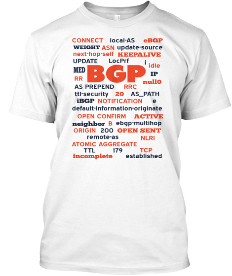 Connect Local As Ebgp Weight Asn Update Source Next Hop Self Keepalive Update Locprf Med Bgp Idle Rr Ip As Prepend... White T-Shirt Front