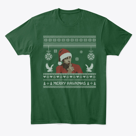 Merry Hawkmas Forest Green  T-Shirt Front