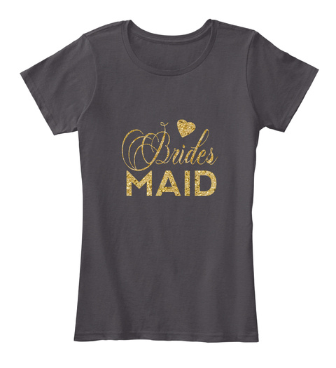 Women's Faux Gold Glitter Bridesmaid  Heathered Charcoal  T-Shirt Front
