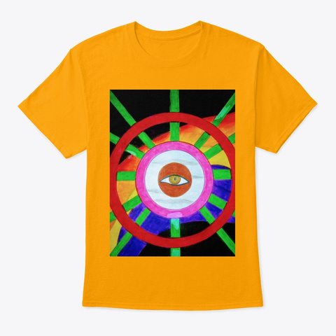 Geometric Art With An Eye Gold T-Shirt Front
