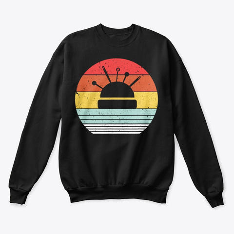 Sewing Shirt Retro Style T Shirt Black T-Shirt Front