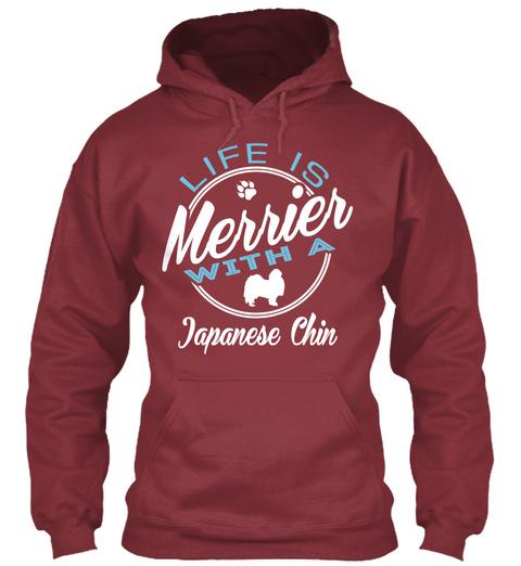 Japanese Chin Gift Shirt. Maroon T-Shirt Front