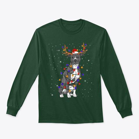 Pitbull Lights Christmas Shirt Dog Lover Forest Green T-Shirt Front