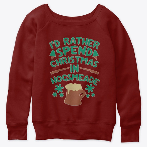 I'd Rather Spend Christmas Dark Red Triblend T-Shirt Front