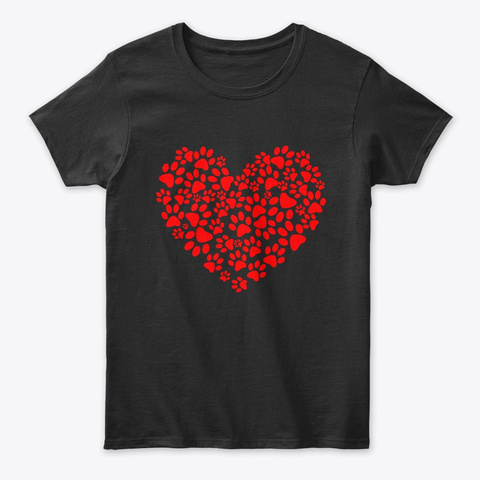 Paw Print Dog Heart Love Valentines Day Black T-Shirt Front