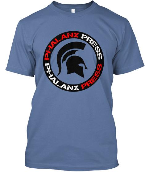 Phalanx Press Merch Denim Blue T-Shirt Front